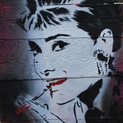 Audrey... pochoir sur palissade